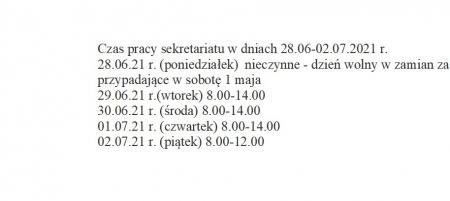 Wakacje - czas pracy sekretariatu